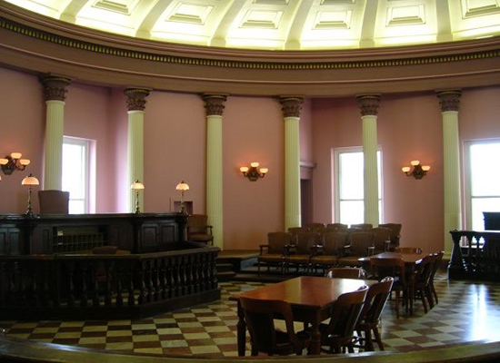 The restored courtroom in the Old Courthouse in St Louis