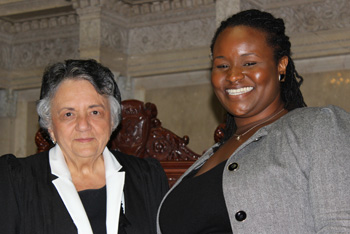 Torrie Smith with Chief Justice Shirley Abrahamson