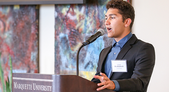 Ismail El-Hassan speaks at the closing banquet
