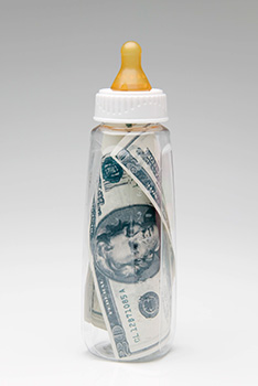 baby bottle with money in it