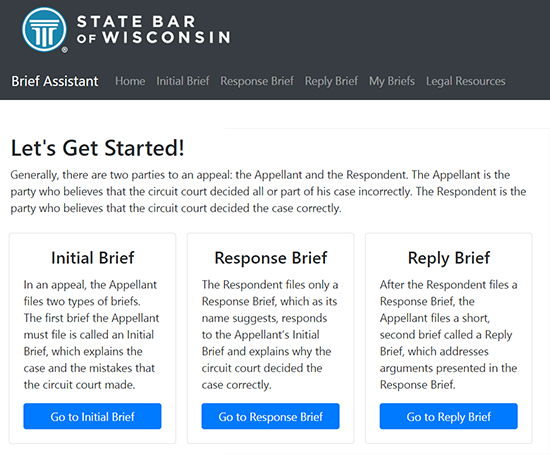 Brief Assistant App homepage