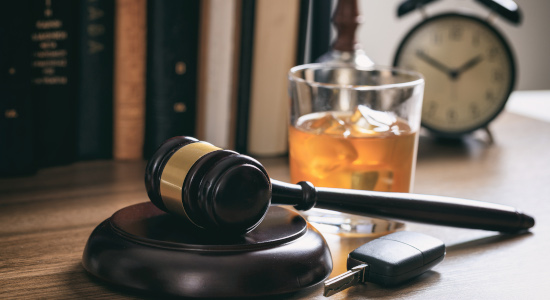 gavel and alcohol