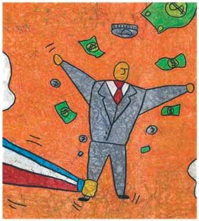 illustration of a man losing 