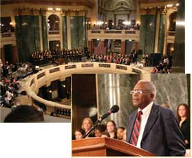 Civil rights attorney Fred Gray, inset at Capitol