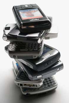 stack of smartphones