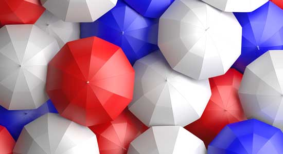 red white and blue umbrellas