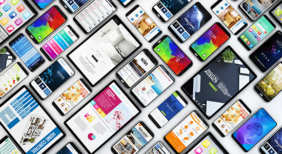 collage of phones and tablets