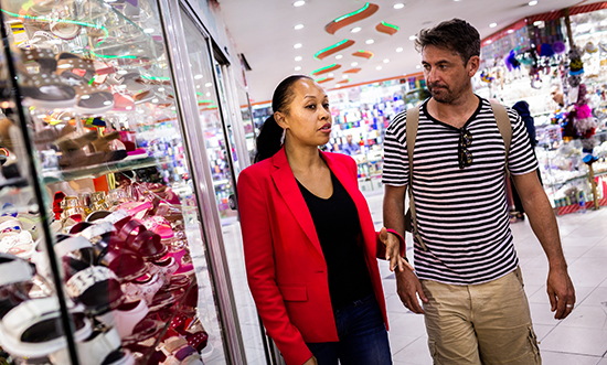 Kimberley Motley in downtown Kabul with Conor Woodma