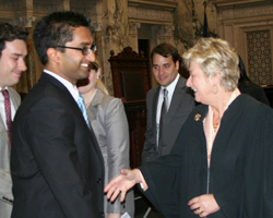 Justice Ann Walsh Bradley greets new lawyers