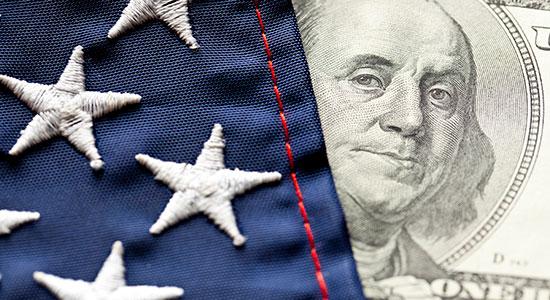 American flag and 100 dollar bill