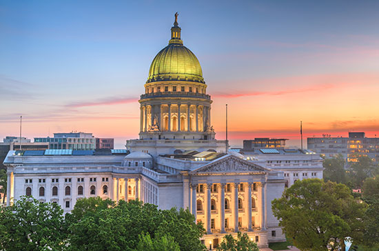 Wisconsin State Capitol at sunset/sunrise
