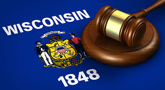 Wisconsin state flag and gavel